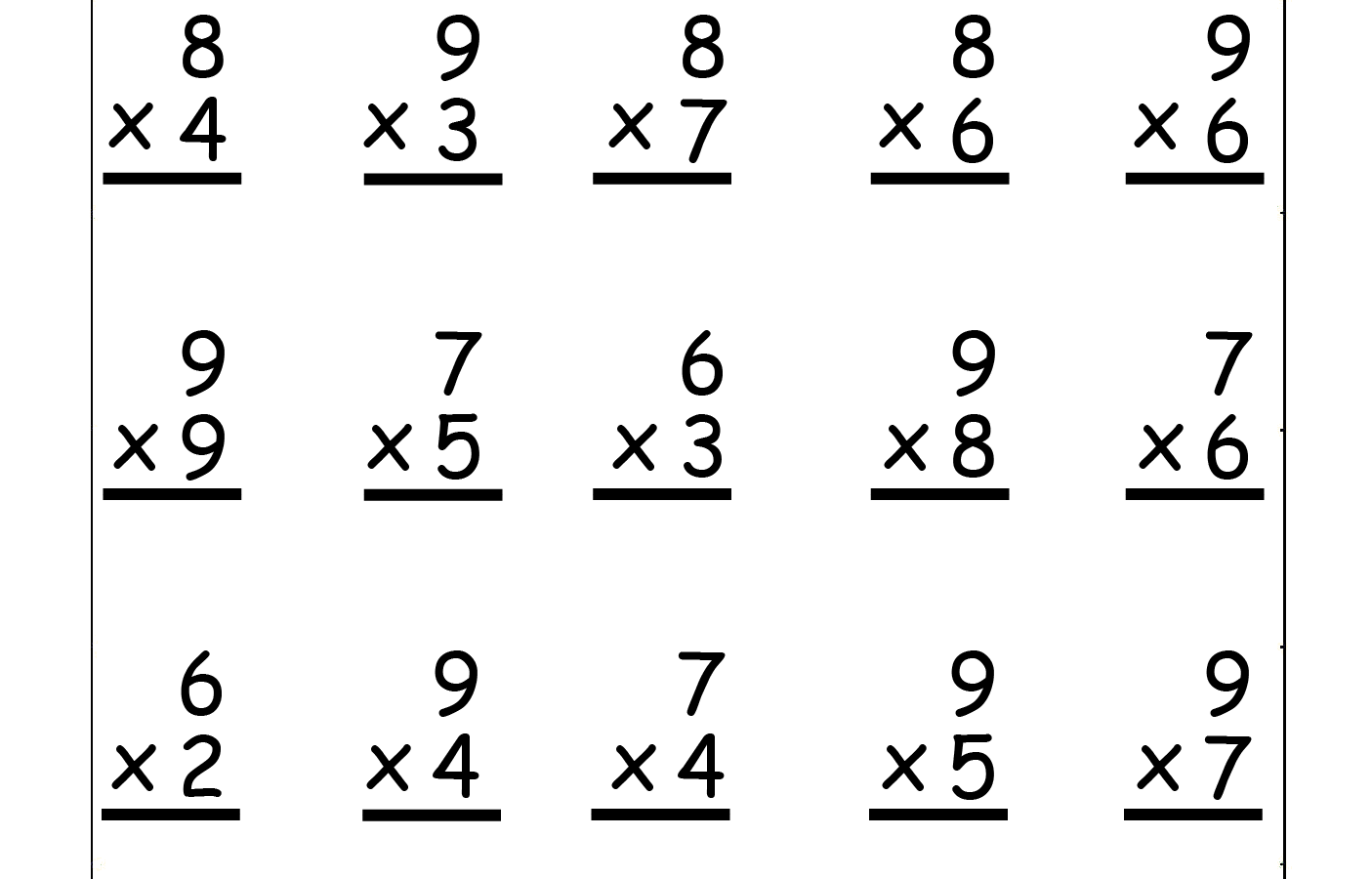 Multiplications Worksheets