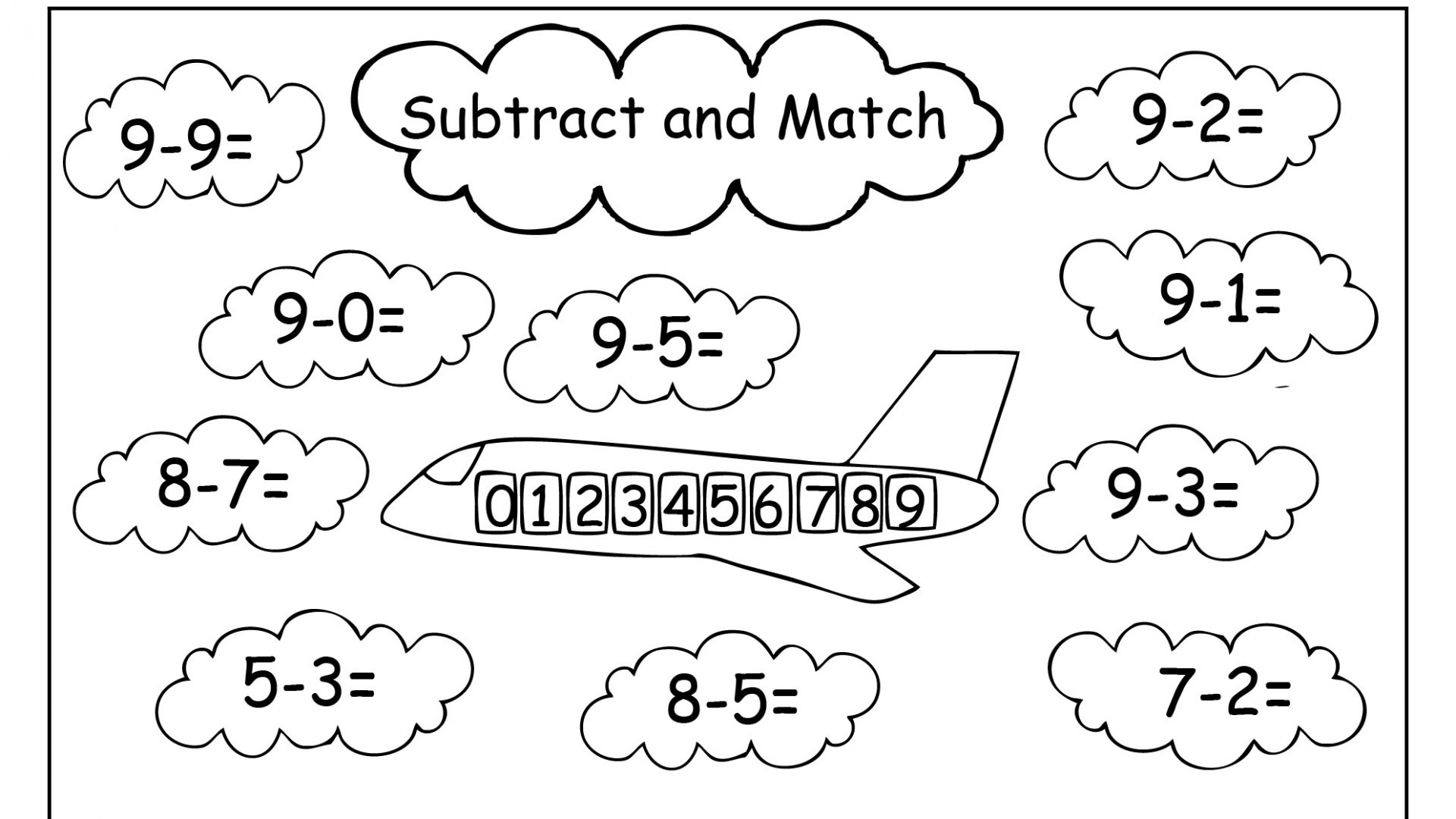 Subtraction Worksheets With Coloring