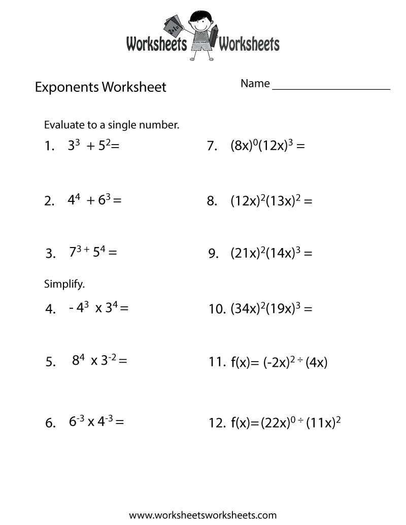 Exponents Review Worksheet  Free Printable Educational Worksheet