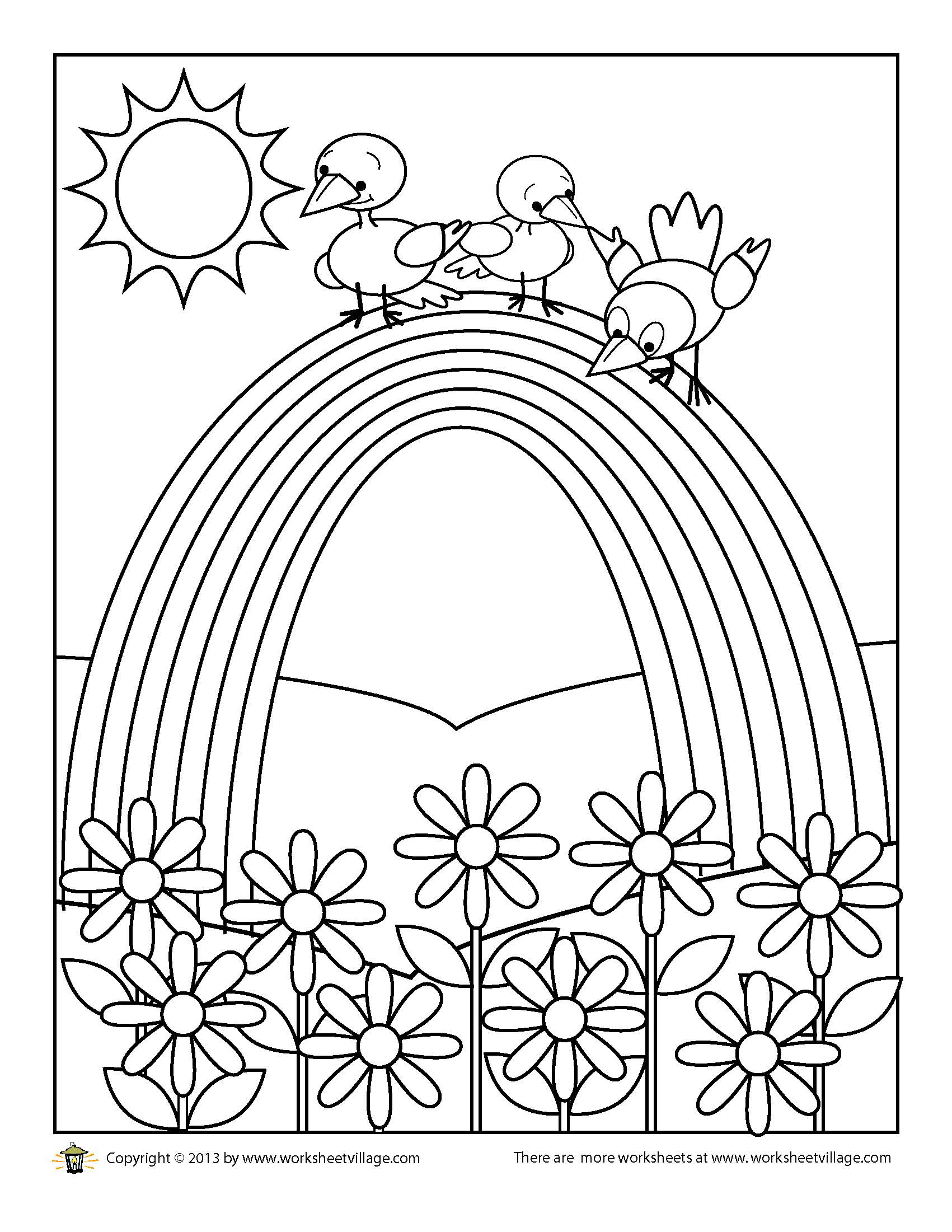 Birds On A Rainbow Coloring Page Worksheet Village