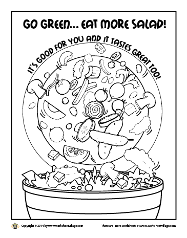 Eat More Salad coloring page