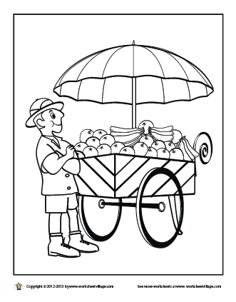 fruit cart coloring page