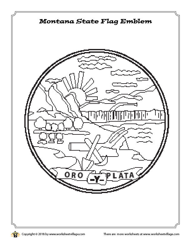 Montana State Flag Emblem Coloring Page