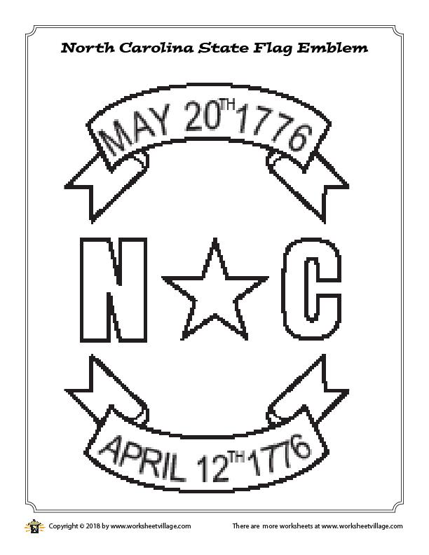 North Carolina State Flag Emblem Coloring Page