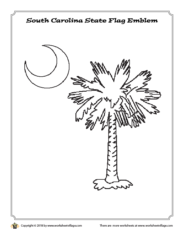 South Carolina State Flag Emblem Coloring Page