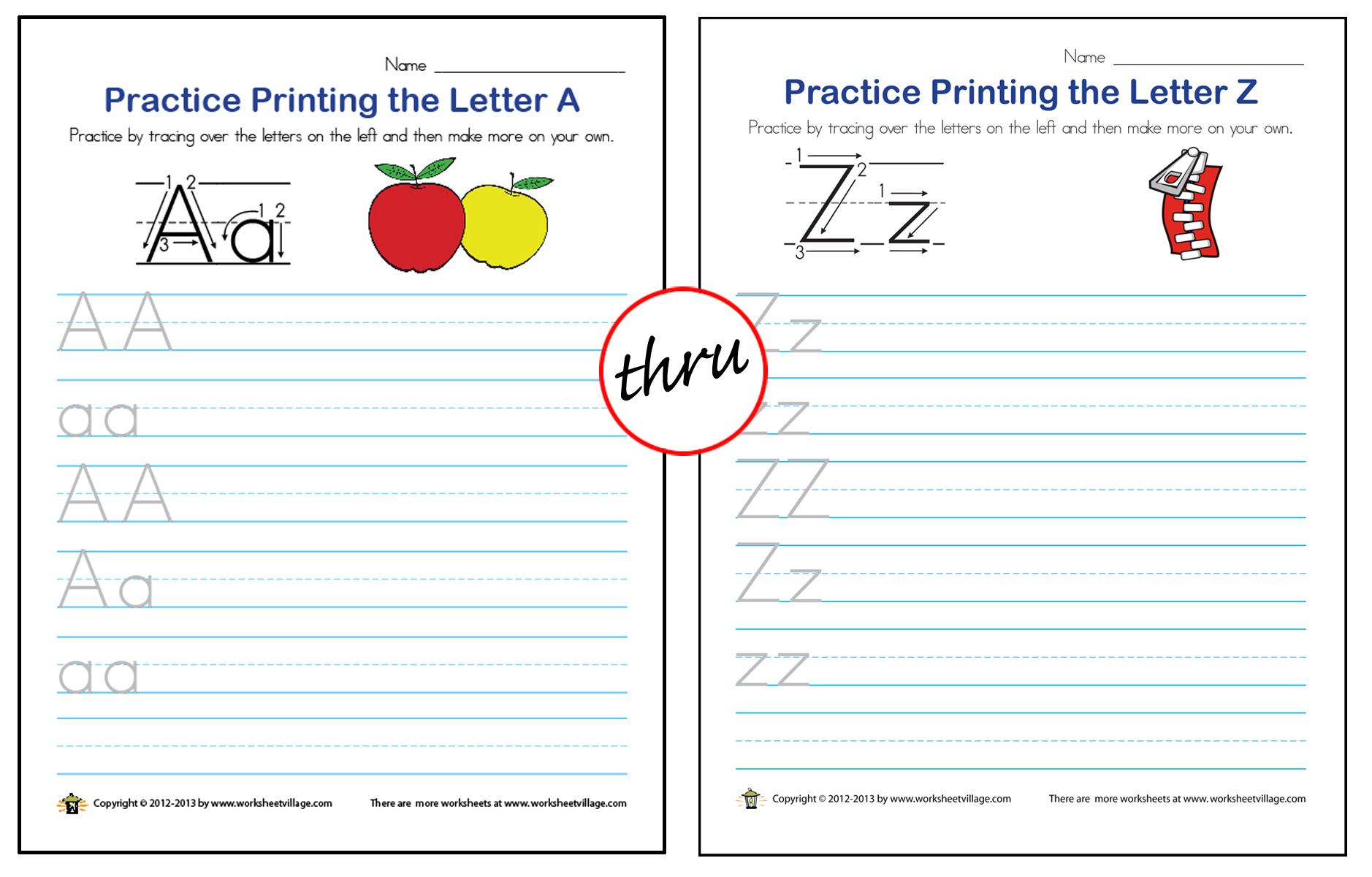 Printing Practice A Thru Z Worksheet Village