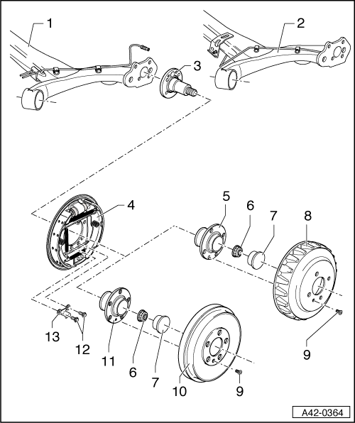 Audi Workshop Manuals > A2 > Running gear, front-wheel