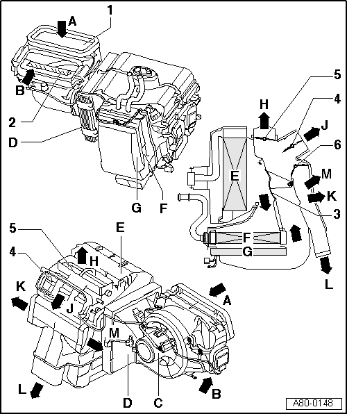 Audi Workshop Manuals > A2 > Heating, ventilation, air