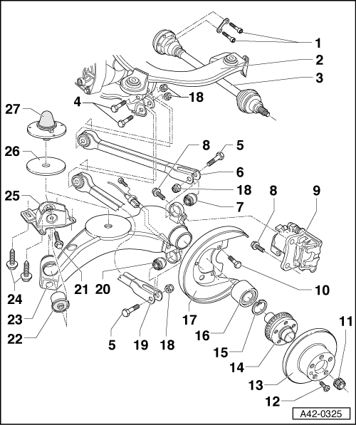 Audi Workshop Manuals > A3 Mk1 > Running gear, front-wheel