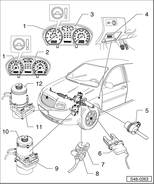 Skoda Workshop Manuals > Fabia Mk1 > Chassis > Steering > Electric/Electronic components and