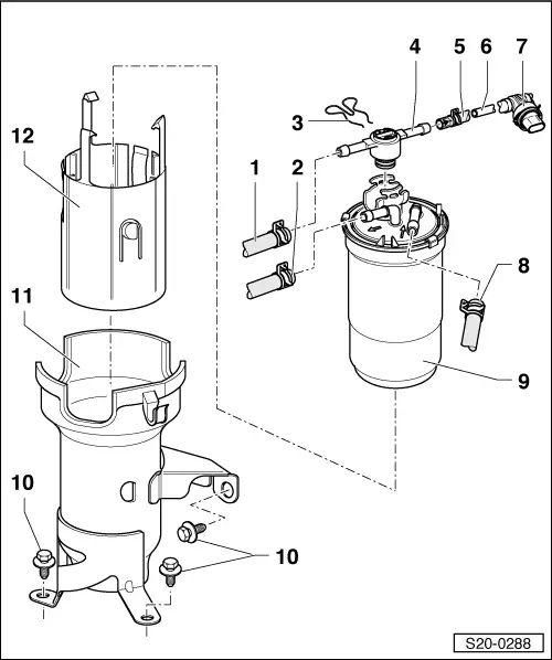 plastic fuel filter flow direction
