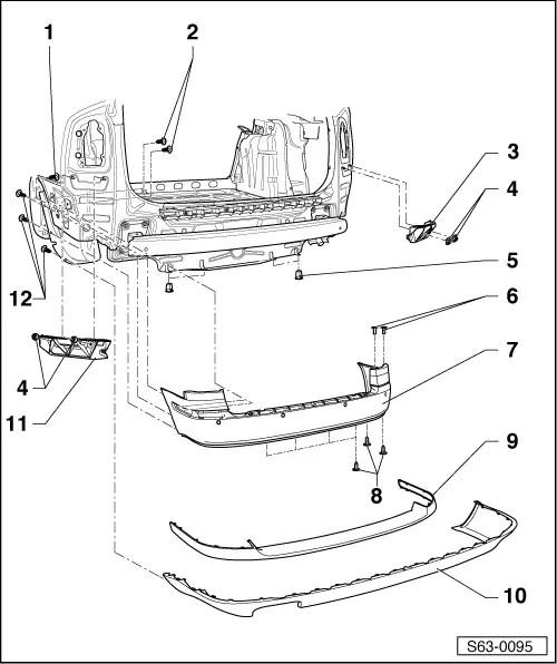 Skoda Workshop Manuals > Octavia Mk2 > Body > Body Work > Bumper > Rear bumper > Summary of