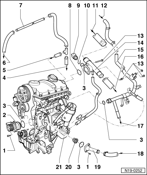 Engine Coolant Flow Through Cooling System, Engine, Free