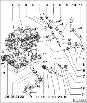 Volkswagen Workshop Manuals > Golf Mk5 > Power unit > 4cylinder diesel engine (20 l engine, 2