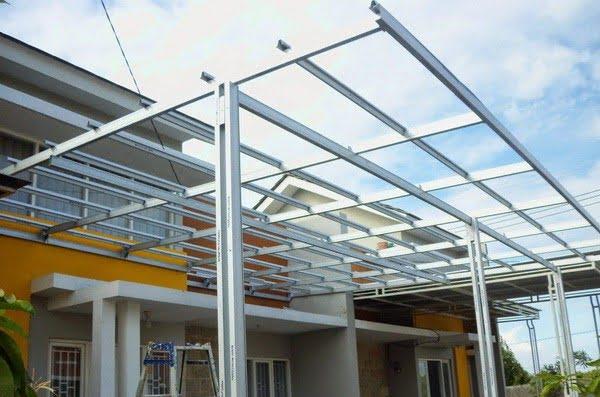 pasang atap baja ringan di cianjur kanopi harga per meter sukabumi bogor