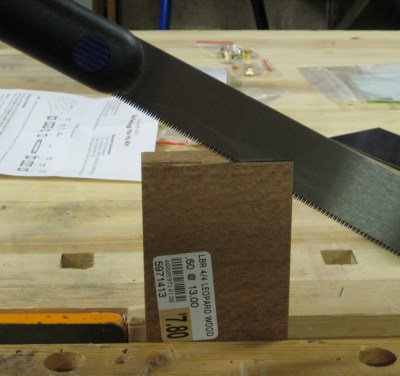 Finishing the resaw with a hand saw