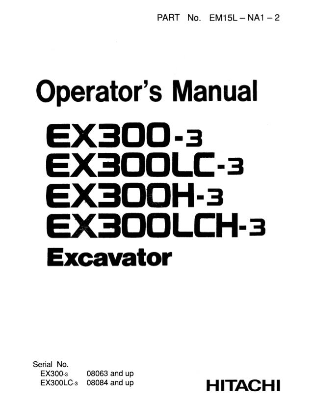 Hitachi EX300-3C Excavator Parts Catalog Download