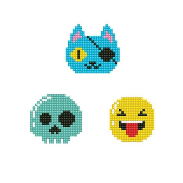 Diamond dotz dotzies stickers look 1 smiley piraat doodshoofd