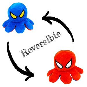 Omkeerbare knuffel spiderman octopus rood - blauw