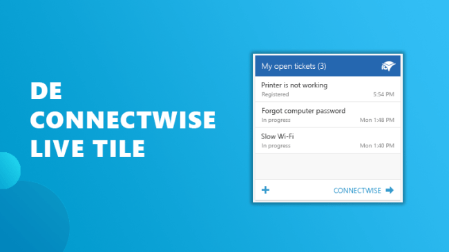 ConnectWise live tile Workspace 365