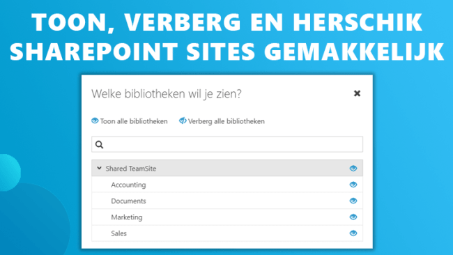Sharepoint sites zijbalk Workspace 365