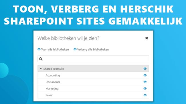 Sharepoint sites zijbalk Workspace 365