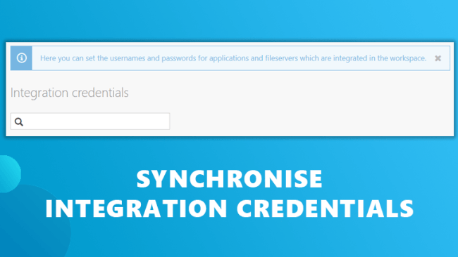 Synchronise integration credentials Workspace 365