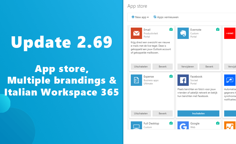 Update 2.69: App store, Multiple brandings and an Italian workspace