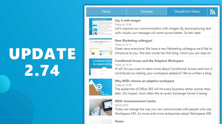 Update 2.74: SharePoint afbeeldingen, onbegrensd bestanden verplaatsen en datum & tijd format