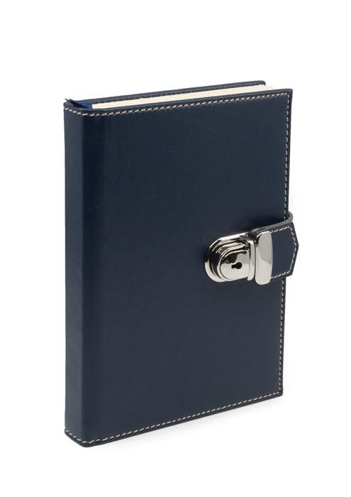 Dagbog med lås blå