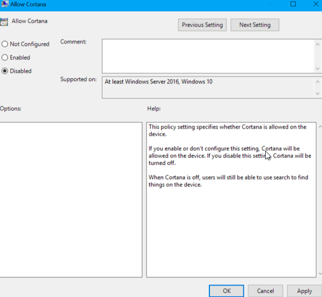 Permanently Disable Cortana in Windows 10