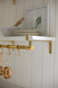 White and Brass Open Shelving in this California Casual Kitchen - Jamie Gernert, Work Your Closet
