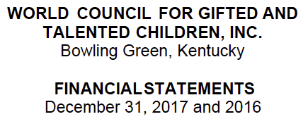 2017 Audit for World Council for Gifted and Talented Children