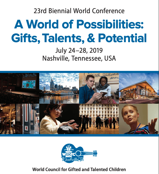 2019 World Conference Program Cover - Nashville, Tennessee - A World of Possibilities: Gifts, Talents, and Potential