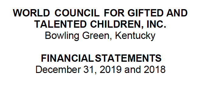 World Council for Gifted and Talented Children 2019 Annual Audit