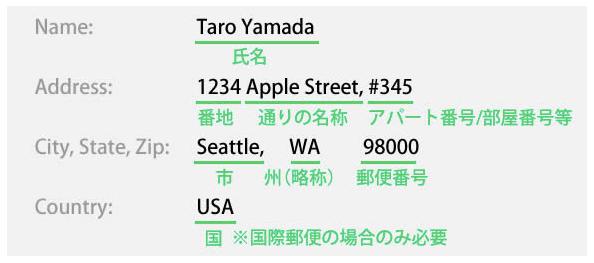 アメリカ 住所 日本語