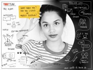 Taz Alam Sketchnotes im TEDxTum 2017