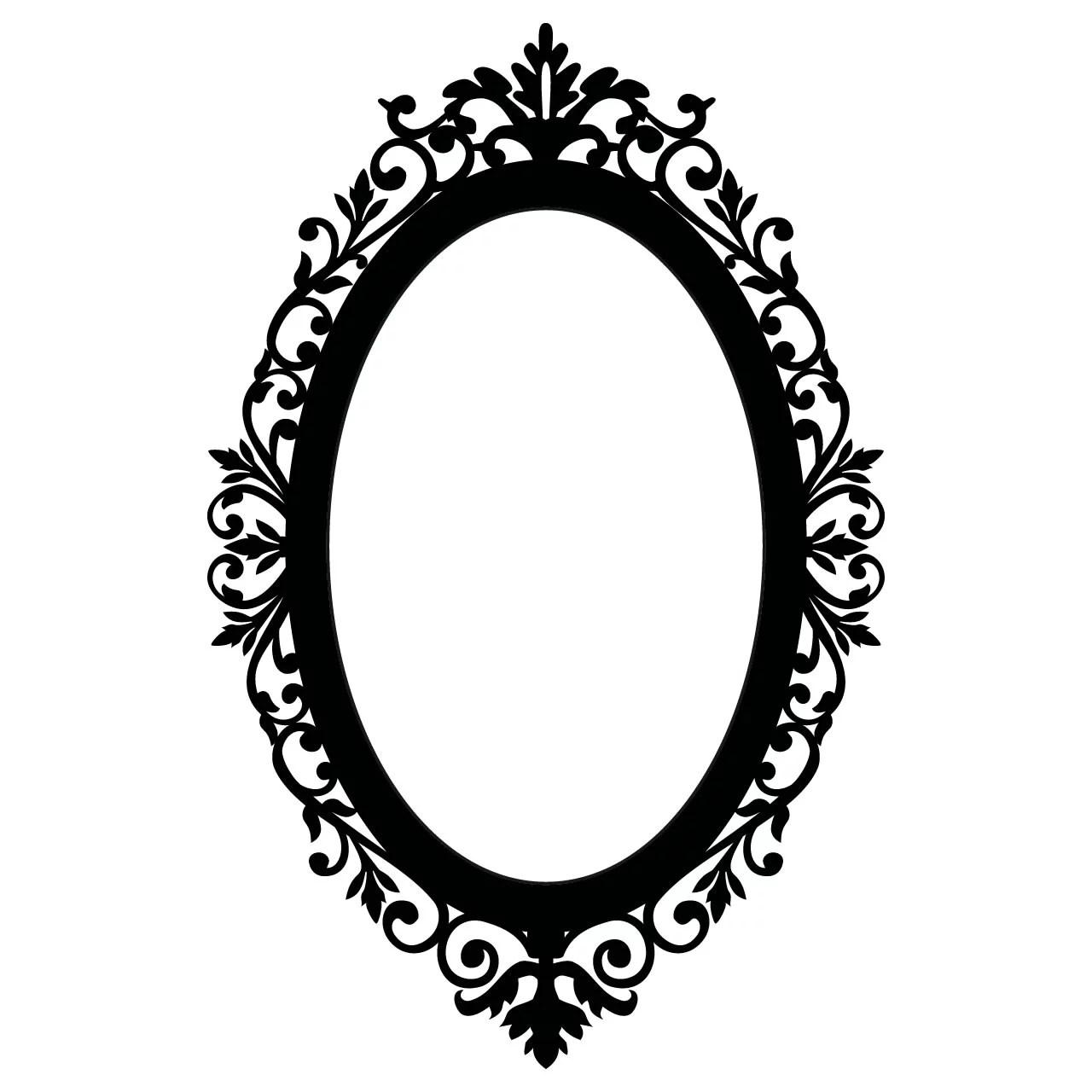Ornate Oval Frame Vintage Wall Sticker