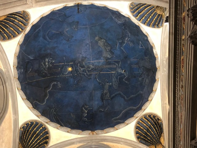 Detail of a ceiling in the Old Sacristy:  the sky as it appeared in Firenze, July 1442.