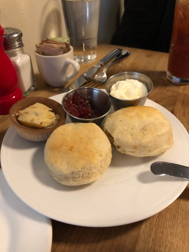 Brunch at The Marshal: Biscuits with bacon-brown sugar butter, cherry preserves, and house-churned honey butter