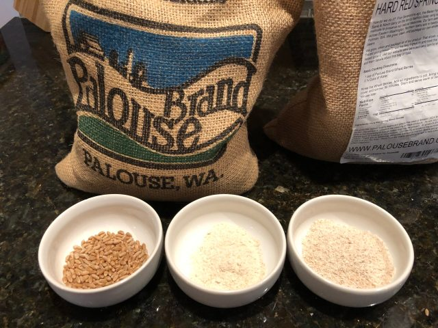 Flour in the Time of Coronavirus:  (from left to right) hard red wheat berries; hard white wheat flour; hard red wheat flour