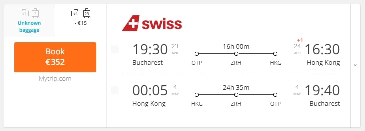 Cheap return flights to Hong Kong for only €352
