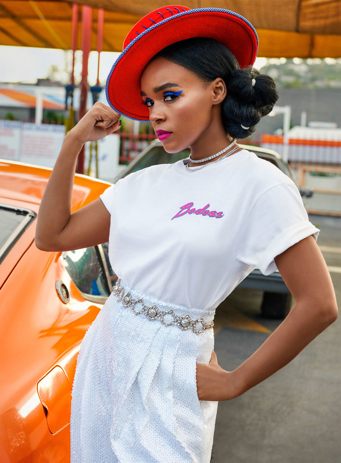 Janelle Monae wearing the limited edition InStyle x karla Classic Badass t-shirt, photographed by Pamela Hanson for InStyle Magazine