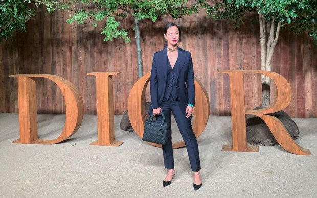 Kim Bui Kollar in Brioni three-piece suit at Shanghai Fashion Week SS20