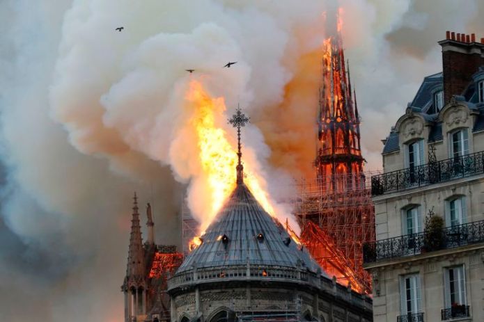 Smoke and flames rise during a fire at the landmark Notre-Dame Cathedral in central Paris on April 15, 2019, potentially involving renovation works being carried out at the site, the fire service said. Francois Guillot   AFP   Getty Images