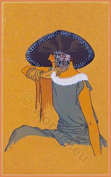 Féerie Orientale. Jeanne Blanchot. Art deco era headdresses. Cloche hats, Flapper, Gatsby fashion.