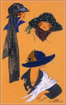Graces Discrètes. Art deco era headdresses. Cloche hats, Flapper, Gatsby fashion.