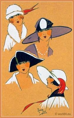 Sélection Exquise. Art deco era headdresses. Cloche hats, Flapper, Gatsby fashion.