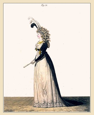 Half mourning. Gallery of Fashion. England Georgian, Regency era fashion. Neoclassical costumes.