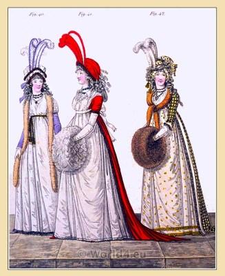 Satin petticoat. Gallery of Fashion. England Georgian, Regency era fashion. Neoclassical costumes.
